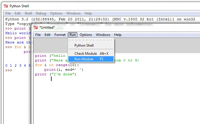 execute python from text editor